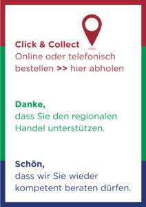 """Motiv 1: """"Click & Collekt – Online oder telefonisch bestellen >> hier abholen."""""""